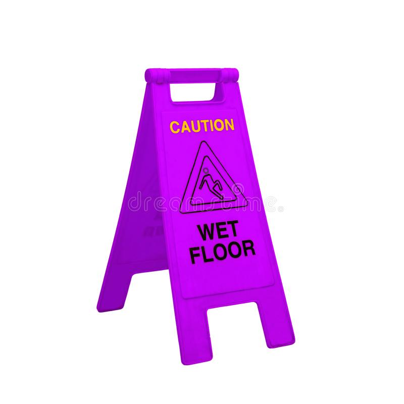 Color caution wet floor signs on white. Background royalty free stock images