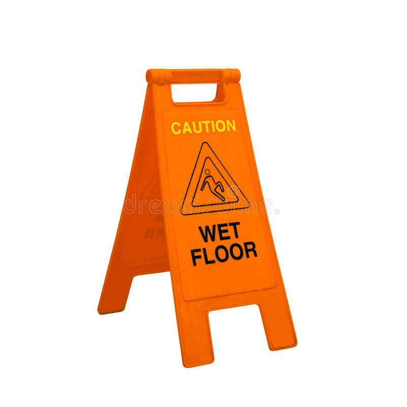 Color caution wet floor signs on white. Background royalty free stock photography