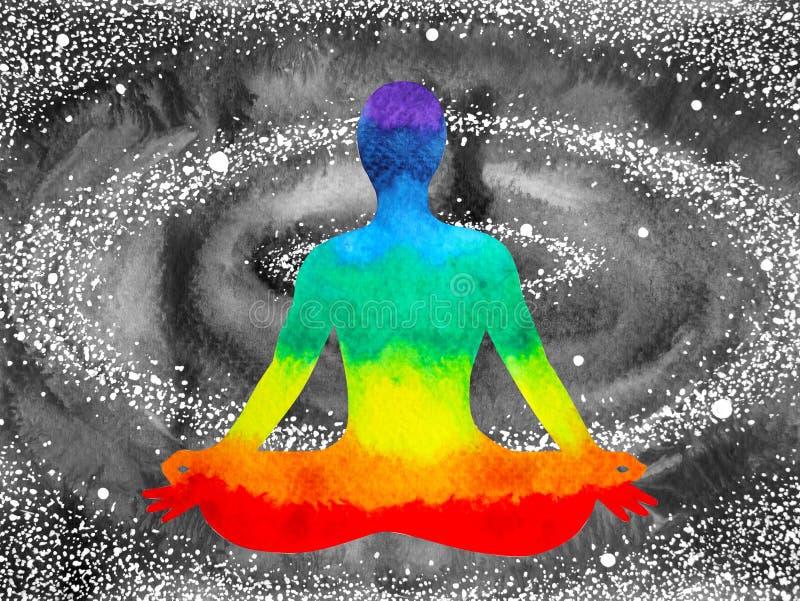 7 color chakra human lotus pose yoga, abstract world, universe vector illustration