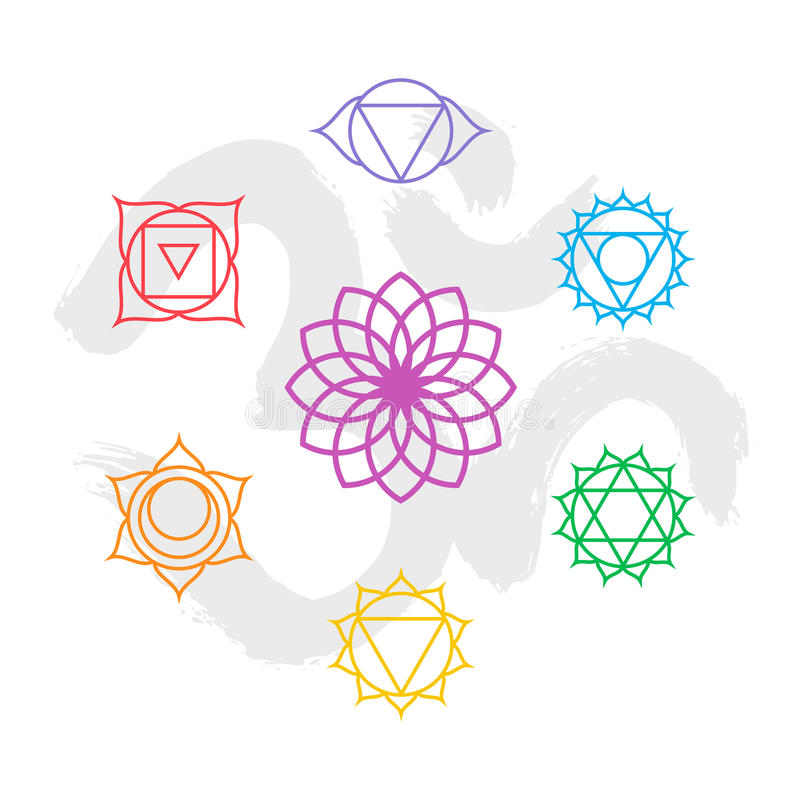 Color chakra icon set outline with om background. Set of simple outline chakra icons with om handmade calligraphy background. EPS10 vector vector illustration
