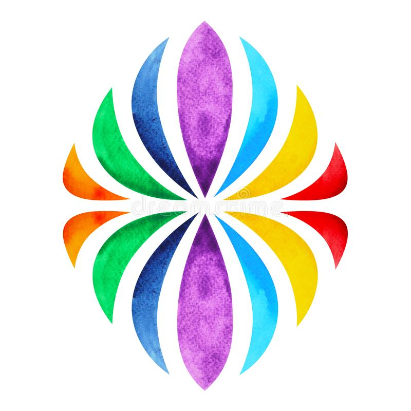 Color chakra mandala symbol concept, watercolor painting icon, illustration design sign hand drawing stock photos