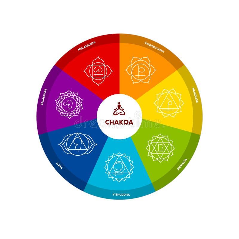 Color chakra scheme on white background. Vector illustration of Color chakra scheme on white background royalty free illustration