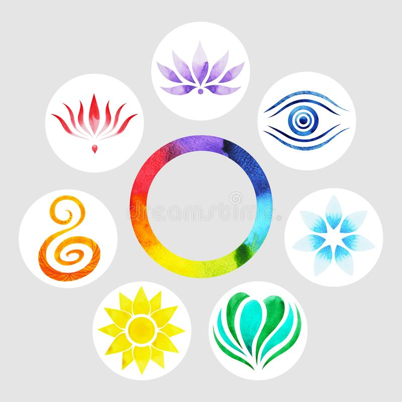 7 color of chakra symbol concept, flower floral, watercolor painting. Hand drawn icon logo, illustration design sign vector illustration