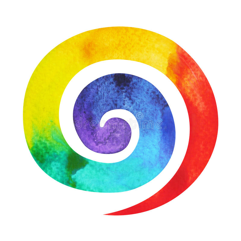 7 color of chakra symbol spiral concept, watercolor painting. Hand drawn icon logo, illustration design sign stock illustration