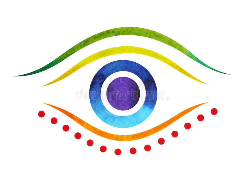 7 color of chakra symbol third eye concept, watercolor painting vector illustration