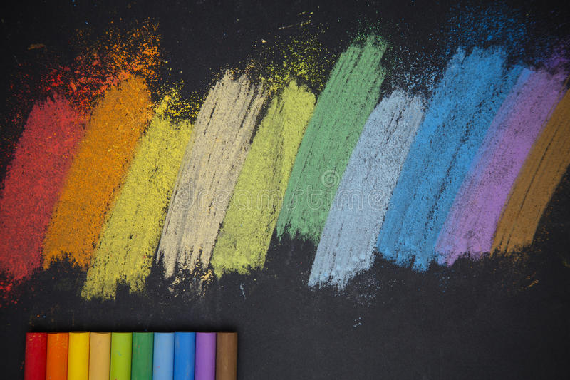 Color chalks stock photos