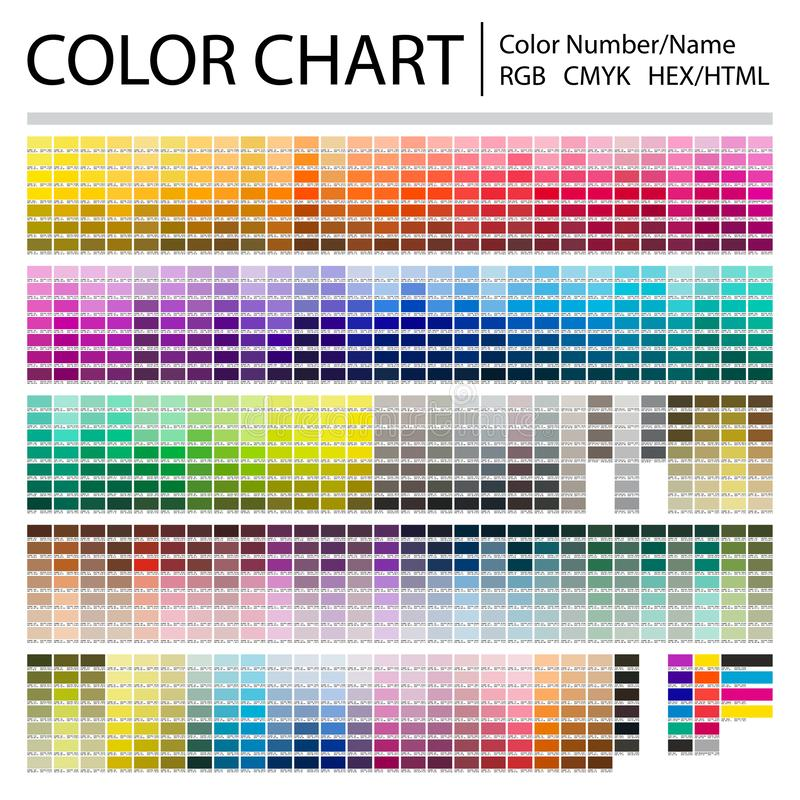 Color Chart. Print Test Page. Color Numbers or Names. RGB, CMYK, Pantone, HEX HTML codes. Vector color palette stock photos