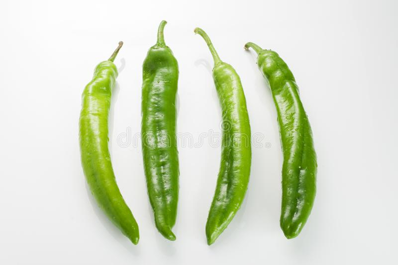 Color chilli pepper on white background stock photos