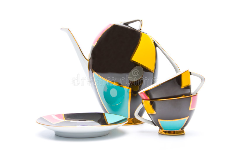 Color china teapot and cups isolated stock photo