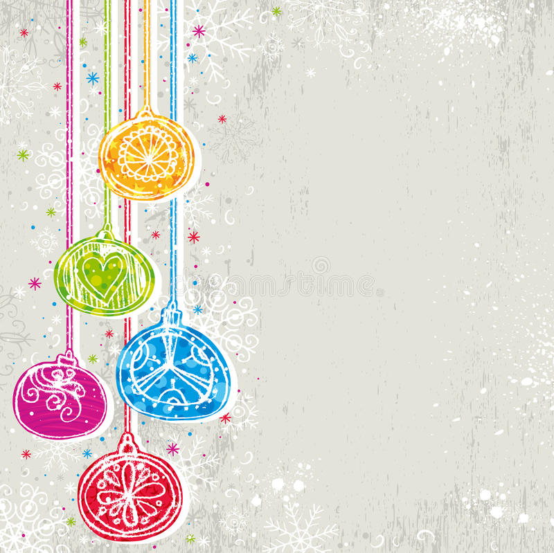Color christmas background,. Color christmas background with christmas balls, illustration stock illustration