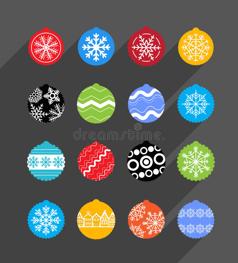 Color Christmas baubles collection. Design elements vector illustration