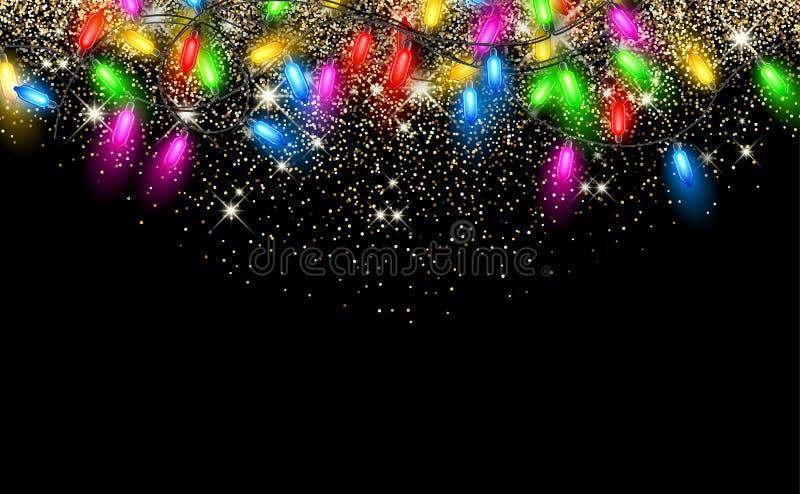Christmas garland on black background. royalty free illustration