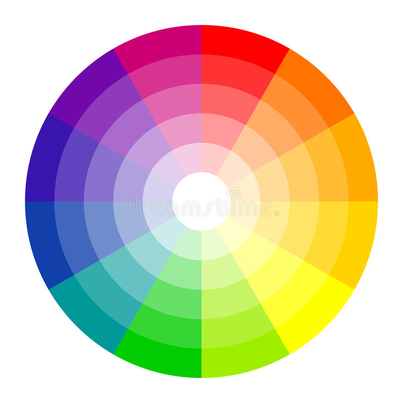 Color circle 12 colors. Color circle with twelve colors isolated on white background royalty free illustration