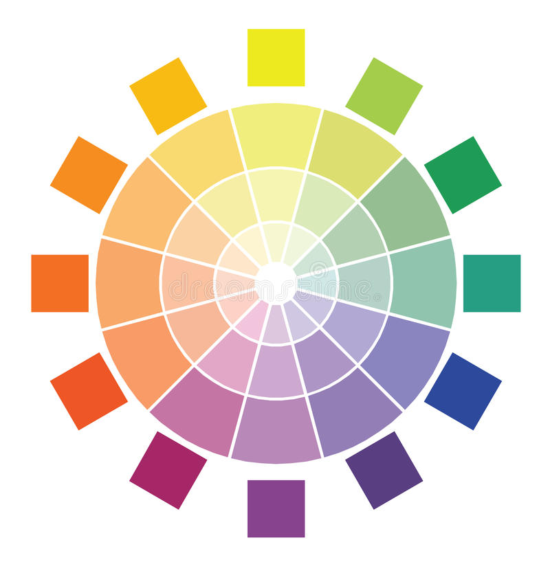 Color circle diagram. Diagram of colors with different shades in cirle royalty free illustration