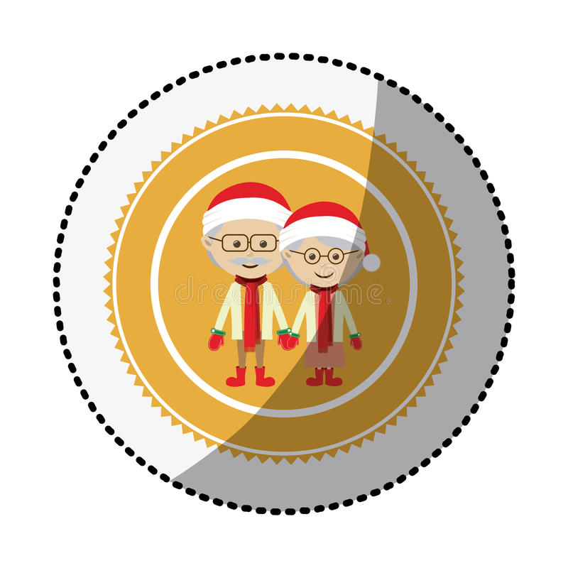 Color circle with middle shadow sticker with grandparents with christmas clothes. Vector illustration royalty free illustration
