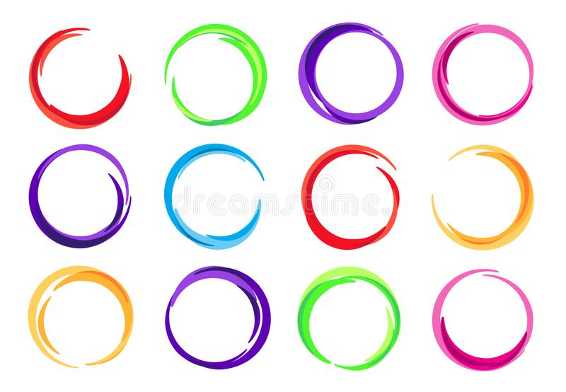 Color circles. Colorful round logo frame, circle swirl wave and vivid oval abstract swirling energy frames vector vector illustration