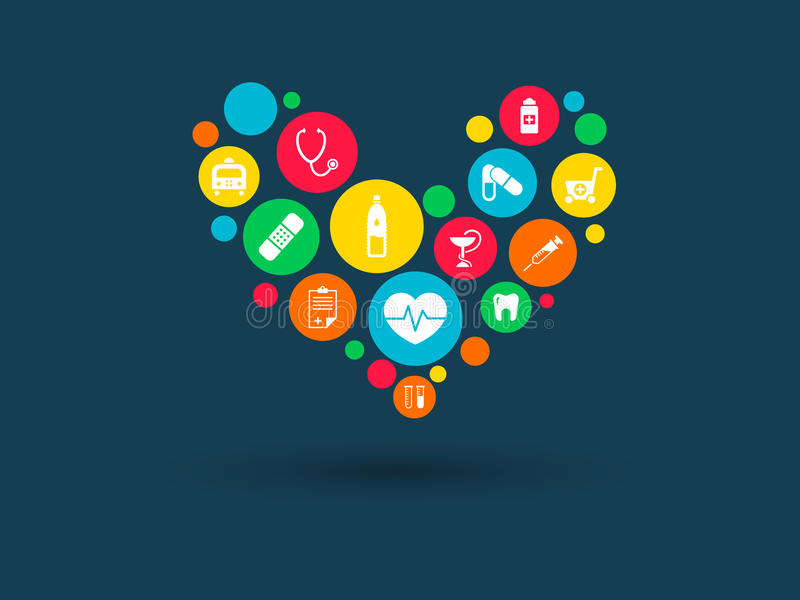 Color circles with flat icons in a heart shape: medicine, medical, strategy, health, cross, healthcare concepts vector illustration