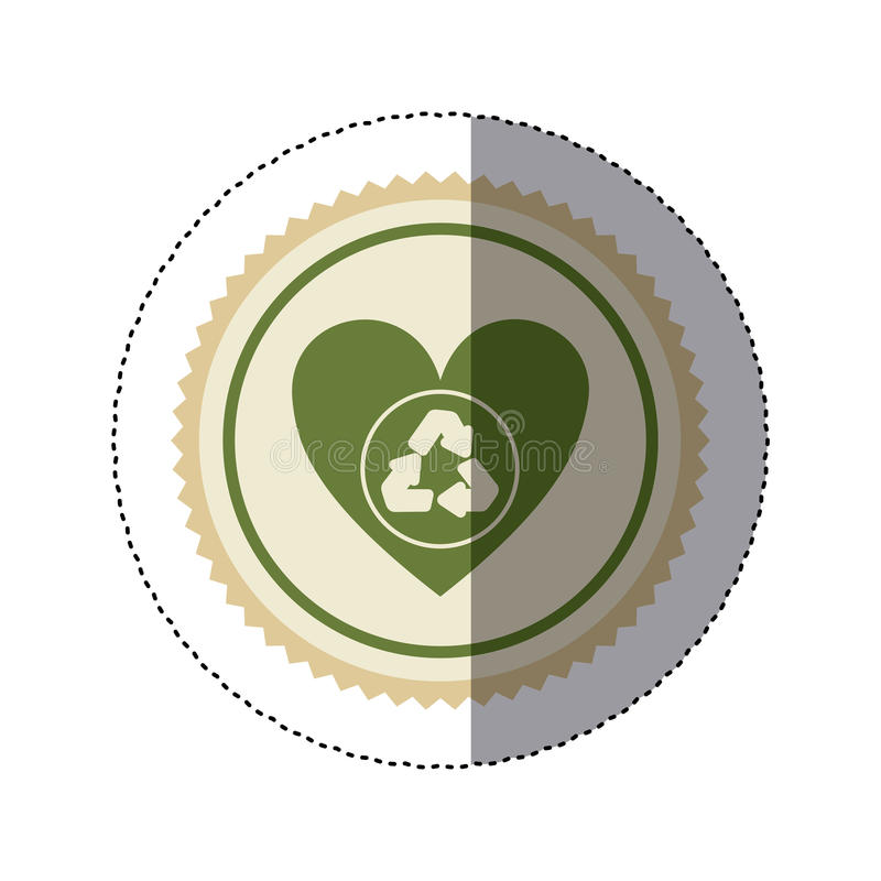 Color Circular Frame Sticker With Green Heart With Recycling Symbol