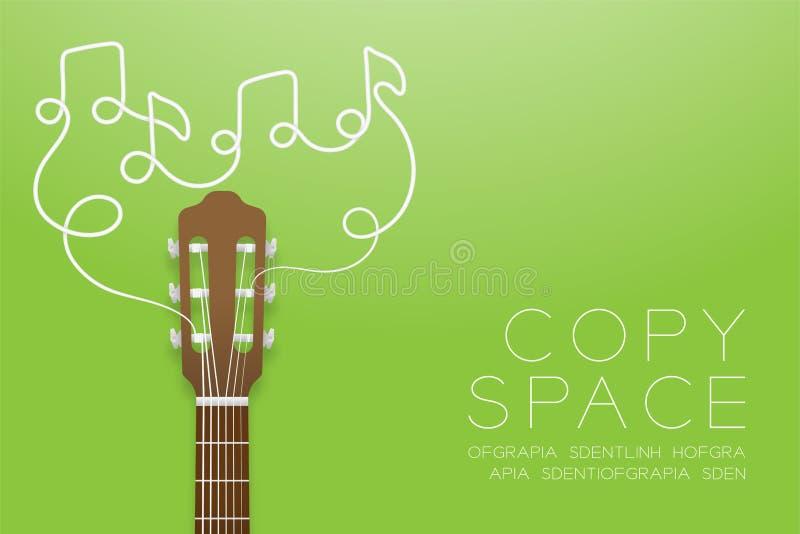 Color clásico del marrón de la guitarra y símbolo de la nota de la música hecho de la idea del concepto del ejemplo de las secuen stock de ilustración