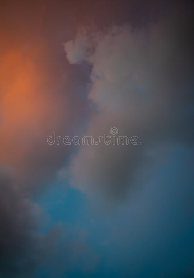 Color clouds at sunset stock photography