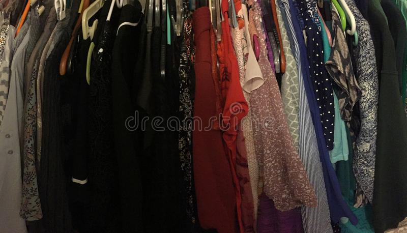 Color coded closet stock photography
