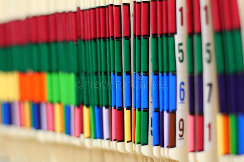 Color Coded Medical Records stock images