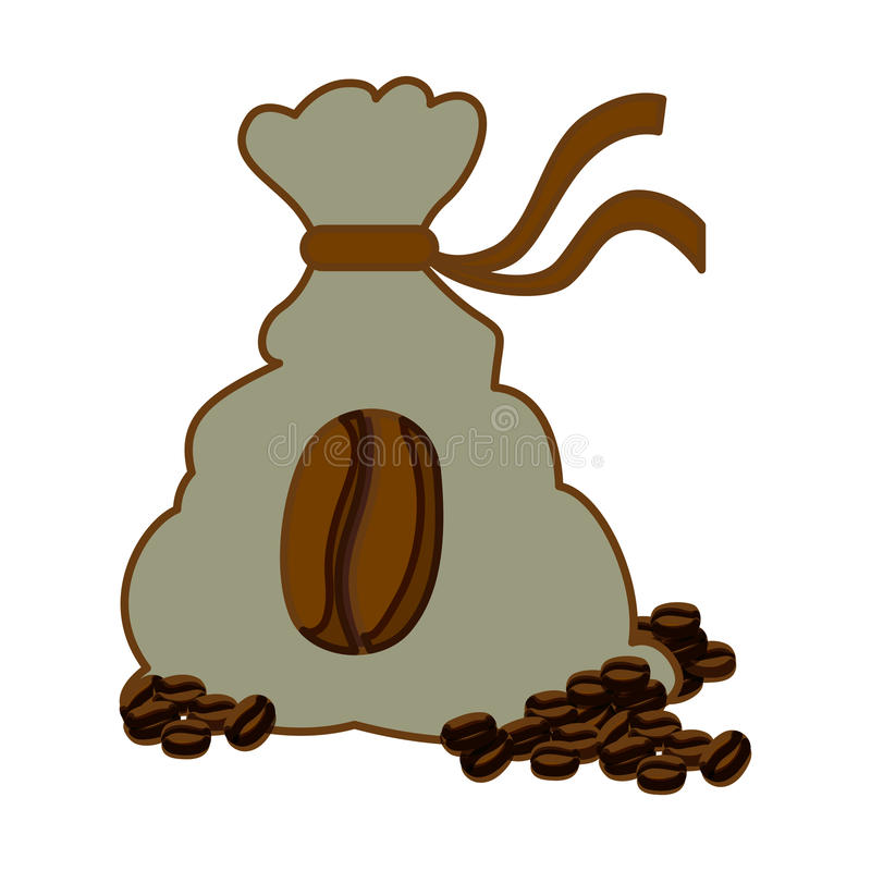 Color coffee sack with coffee grains. Illustration image stock illustration