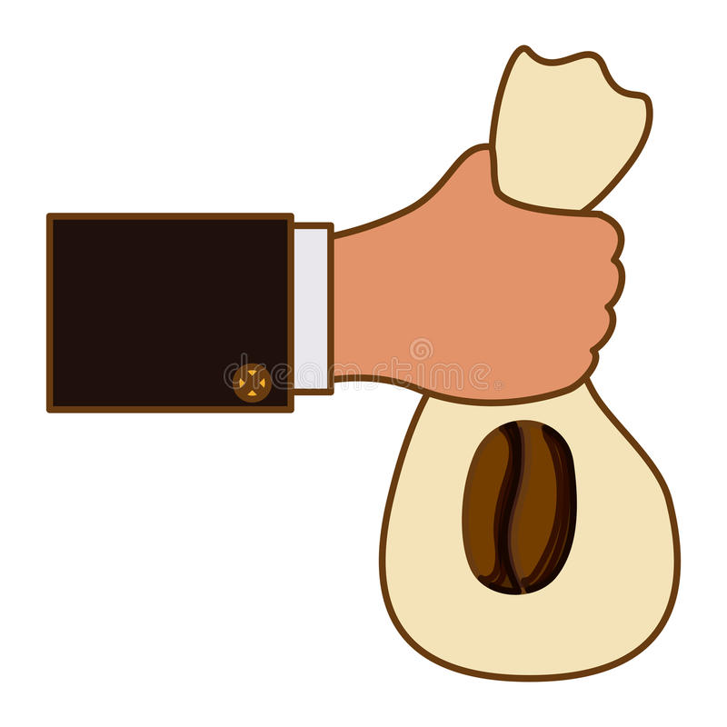 Color coffee sack in the hand icon. Illustration image vector illustration