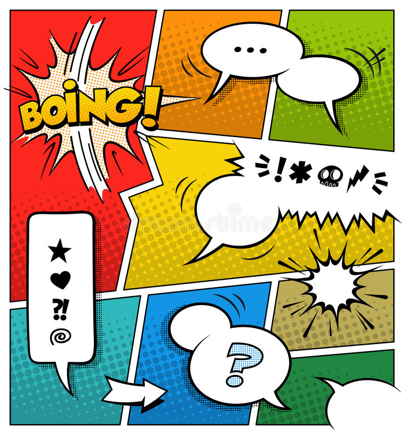 Color Comic Book Page Template. A high detail vector mockup of a typical comic book page with various speech bubbles, symbols and sound effects and colored