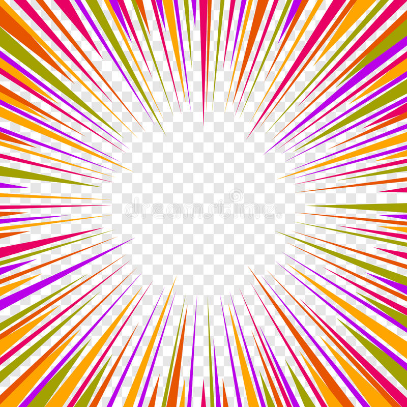 Color Comics Radial Speed Lines graphic effects on Transparent Background. Vector royalty free illustration