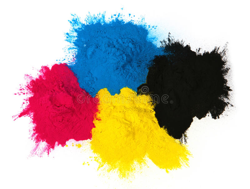 Color copier toner. Cyan magenta yellow, black isolated on white