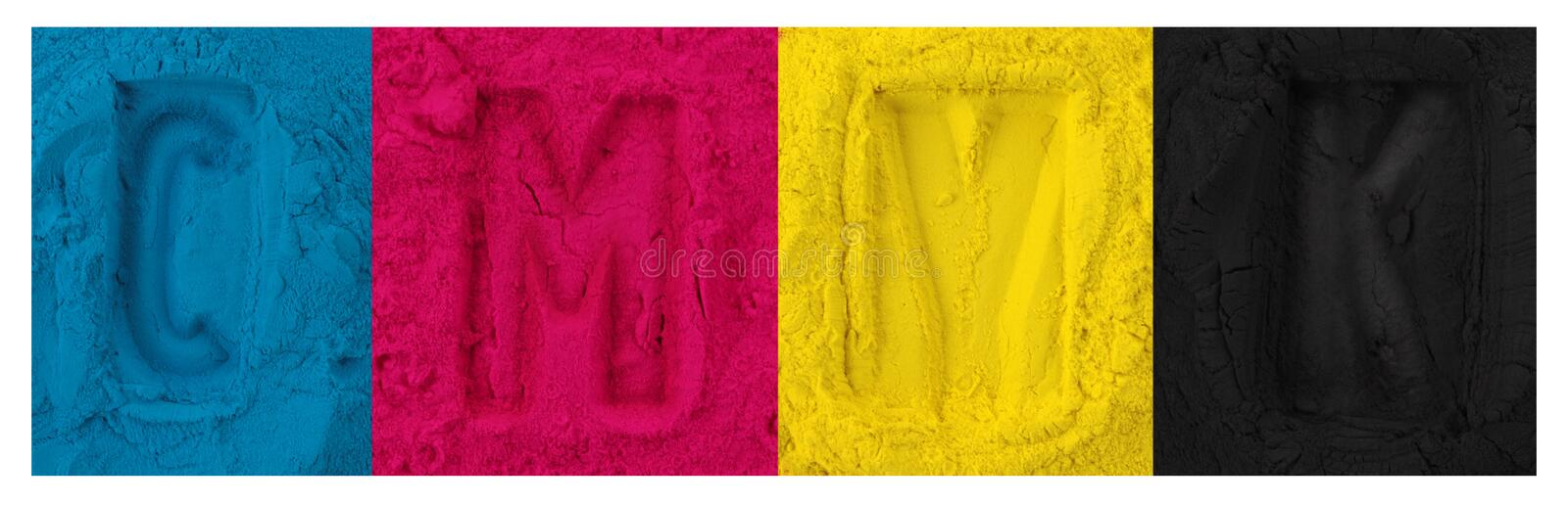 Color copier toner. Cyan magenta yellow isolated on white stock images