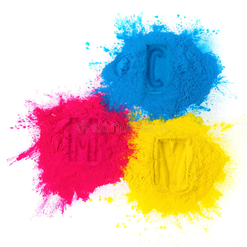 Color copier toner. Cyan magenta yellow isolated on white stock image