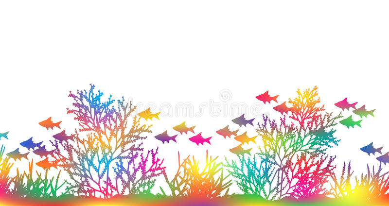 Color coral. Editable vector illustration of brightly colored coral and fish made by masking a background color mesh stock illustration