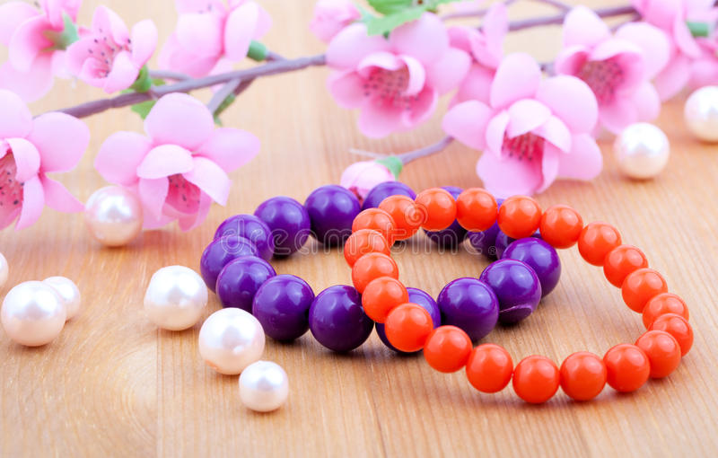 Color coral bangles royalty free stock images