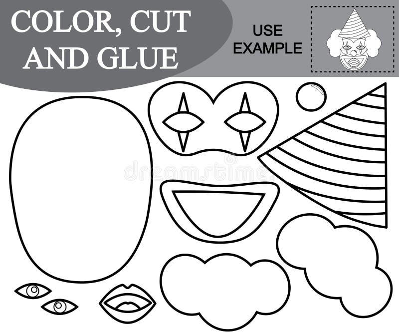 Color, cortar y pegar la imagen del payaso sorprendente Juego para los cabritos ilustración del vector