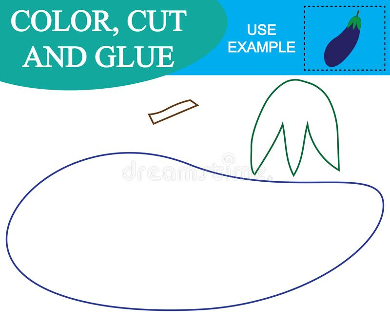 Color, corte y pegamento para crear la imagen de las verduras de la berenjena Juego educativo para los niños stock de ilustración