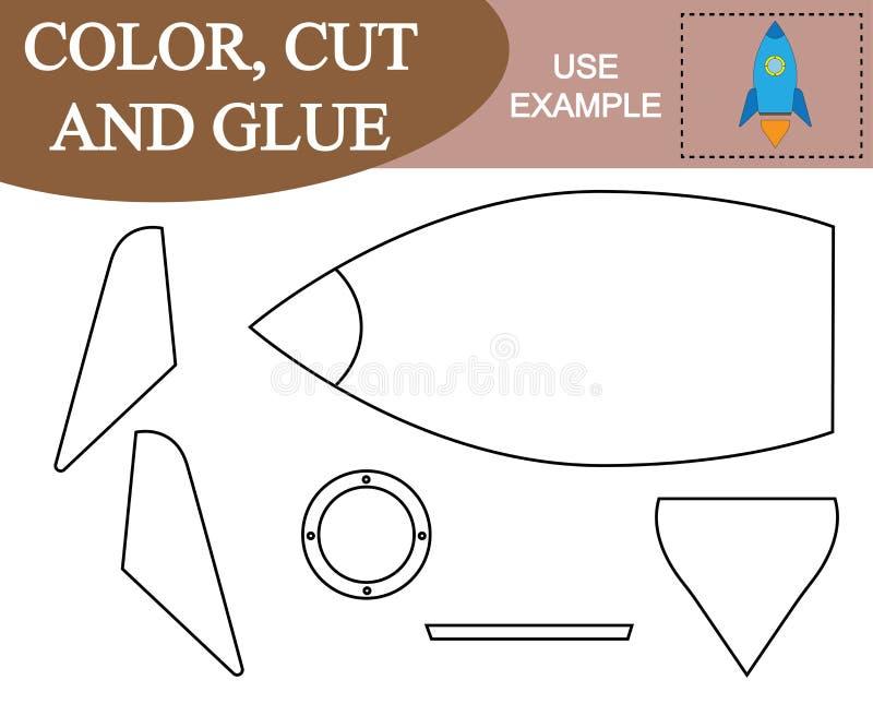 Color, corte y pegamento para crear la imagen del cohete de espacio libre illustration