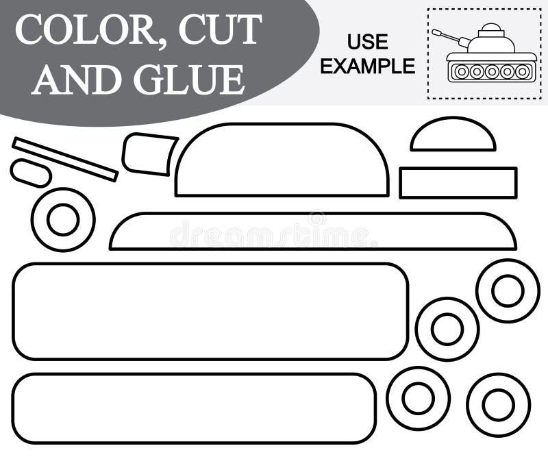 Color, corte y pegamento para crear la imagen del transporte del tanque libre illustration