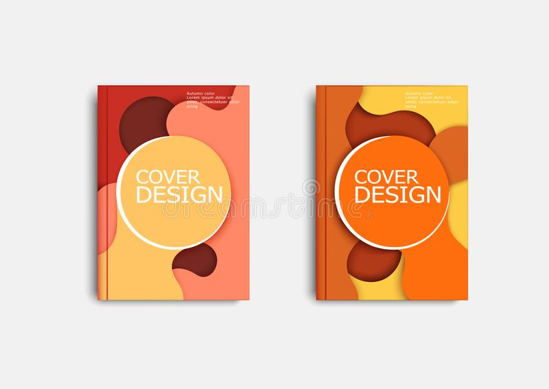 Color cover design templates, contrasting autumn colors, warm and cold colors. Design of printing products royalty free illustration