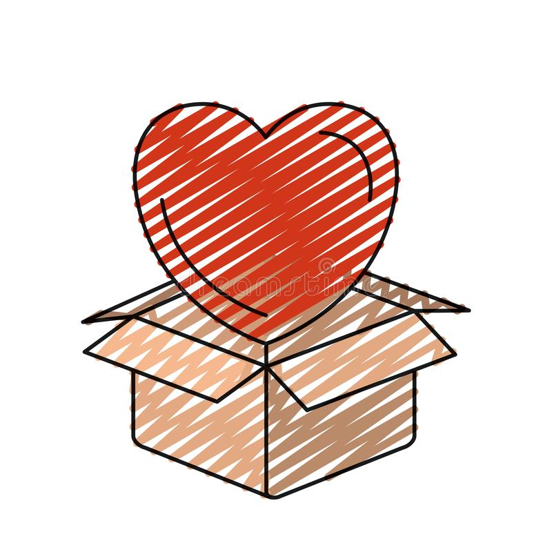Free Color Crayon Silhouette Heart Coming Out Of Cardboard Box Royalty Free Stock Photography - 142646597
