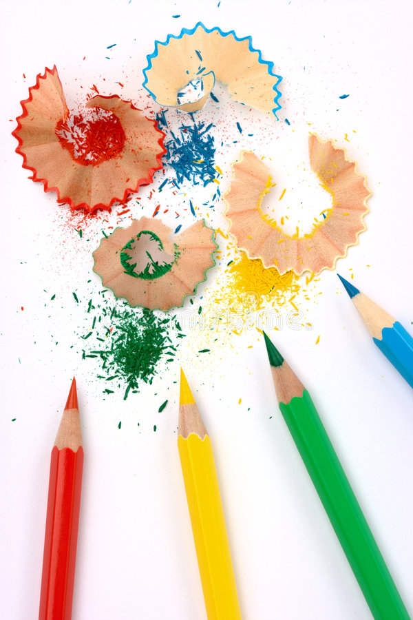 Color crayons with shavings stock photo