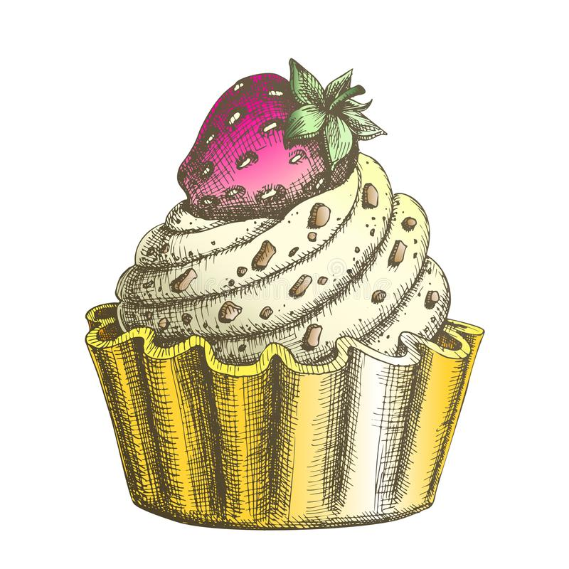 Color Creamy Delicious Cake Sweet Dessert Ink Vector. Confectionery Tasty Cake Made From Custard Cream Decorated Chocolate Crumbs And Strawberry On Top royalty free illustration
