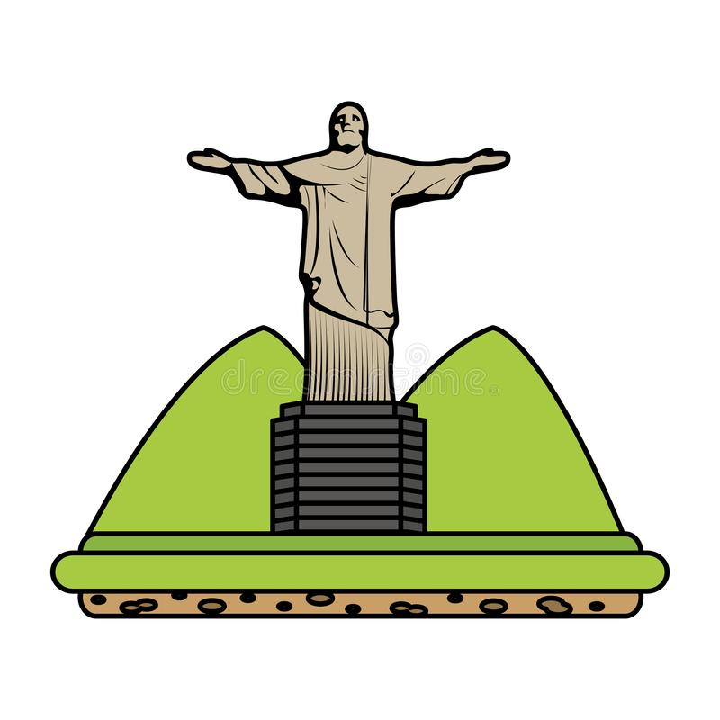 Color cristo religion statue with mountains landscape. Vector illustration royalty free illustration