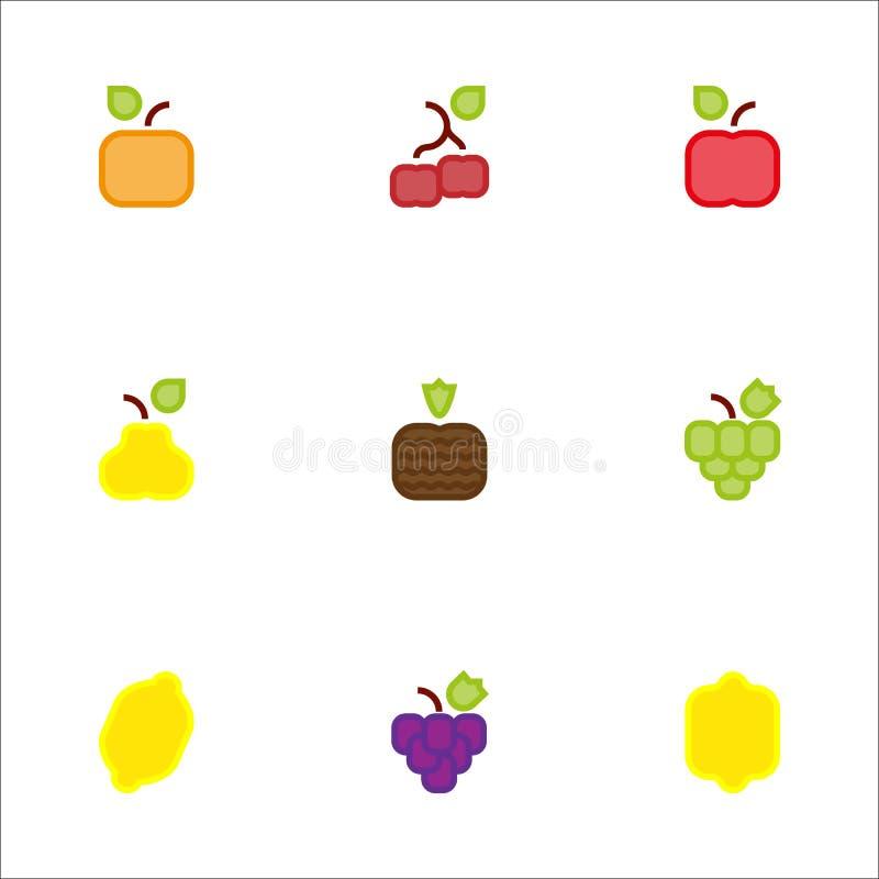Color cuadrado de los iconos de la fruta imagenes de archivo