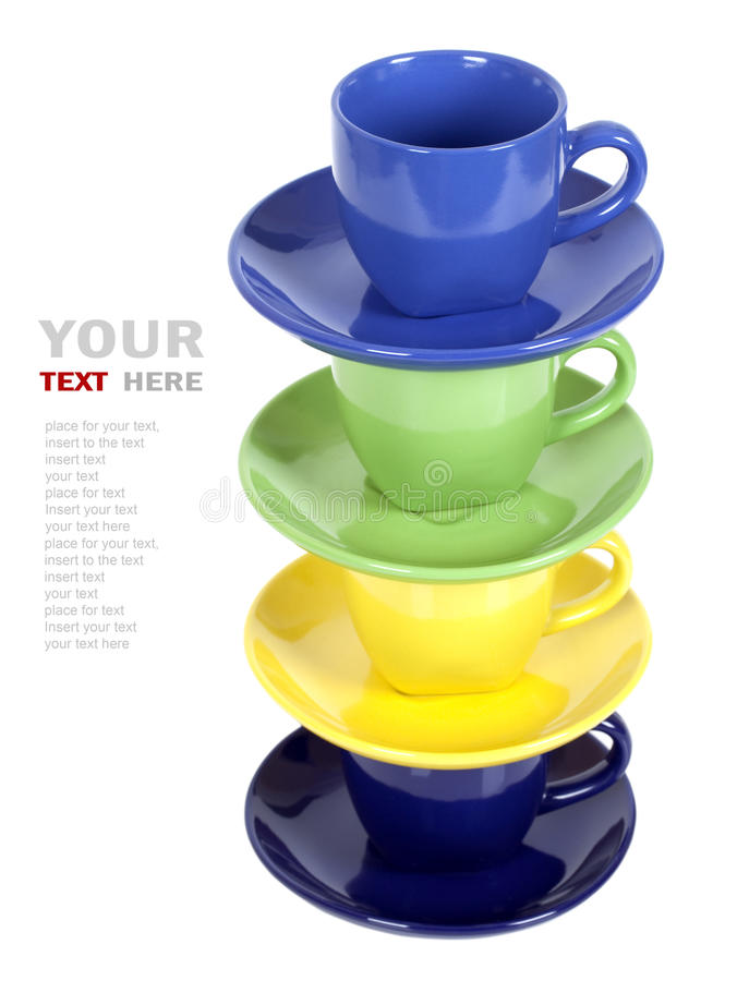 Download Color cups stock photo. Image of setting, ceramic, drink - 21390624