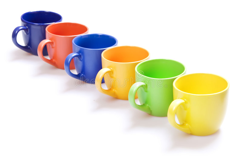 Download Color cups stock photo. Image of beverage, colorful, white - 7884726