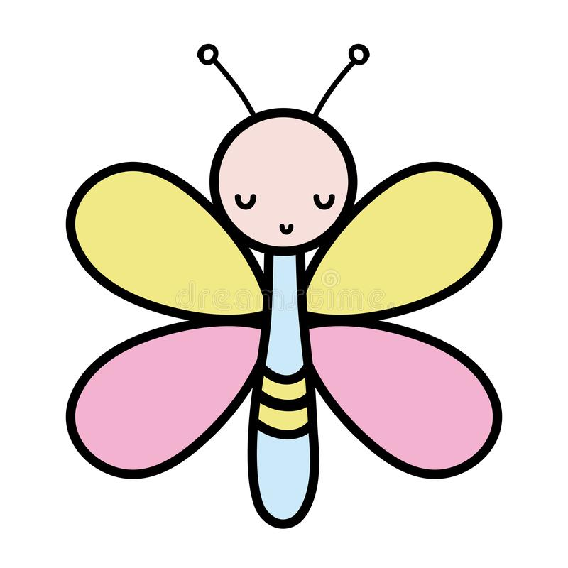 Color cute butterfly insect animal with wings. Vector illustration royalty free illustration
