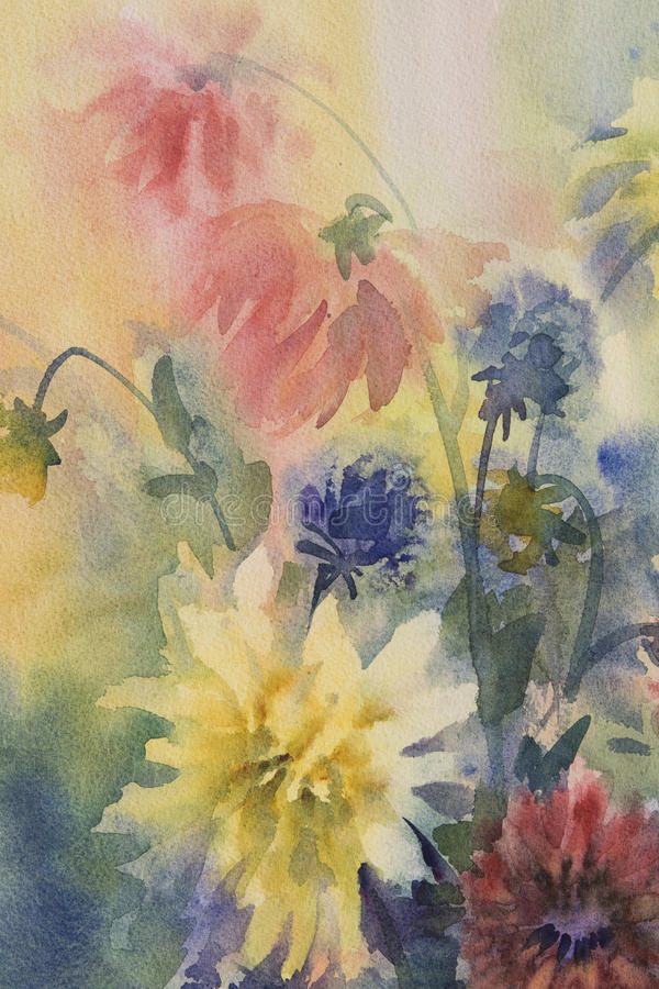 Free Color Dahlias Watercolor Royalty Free Stock Photography - 89629667