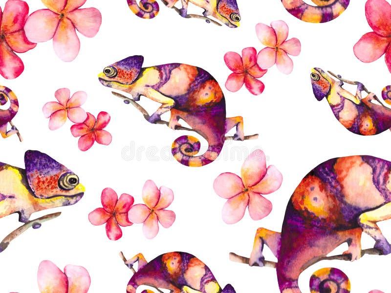 Color de agua con camaleones brillantes y delicadas flores rosas Antecedentes tropicales de los textiles, embalajes, papeles pint libre illustration